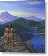 Native American Indian Maiden And Warrior Watching Bear Western Mountain Landscape Metal Print