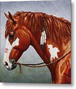 Native American War Horse Metal Print by Crista Forest