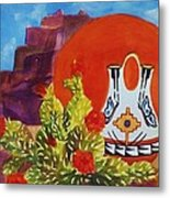 Native American Wedding Vase And Cactus Metal Print