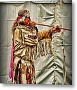 Native American With Blowgun Metal Print