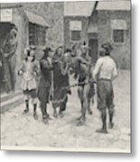 Native Canadians Meet French  Settlers Metal Print