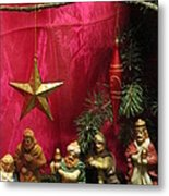 Nativity Scene In Red Metal Print