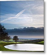 Naturally Formed Dew Pond In Countryside Landscape With Moody Sk Metal Print