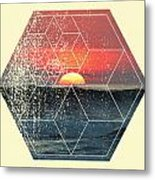 Nature And Geometry - Sunset At Sea Metal Print
