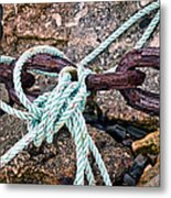 Nautical Lines And Rusty Chains Metal Print