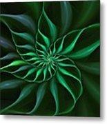 Nautilus Fractalus Verdant Green Metal Print