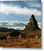 Navajo Horses At El Capitan Metal Print