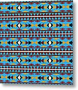 Navajo Blue Pattern Metal Print