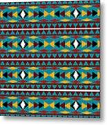 Navajo Teal Pattern Metal Print