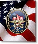Naval Special Warfare Development Group - D E V G R U - Emblem Over U. S. Flag Metal Print