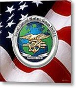 Naval Special Warfare Group Three - N S W G-3 - Over U. S. Flag Metal Print