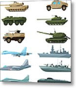 Naval Vehicles, Airplanes And Different Metal Print