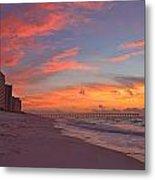 Navarre Pier And Navarre Beach Skyline At Twilight Metal Print