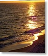 Navarre Sunset Surf Metal Print