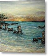 Navy Beach Seaside Sunset Metal Print