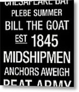 Navy College Town Wall Art Metal Print by Replay Photos