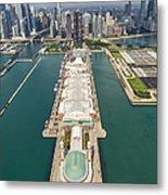 Navy Pier Chicago Aerial Metal Print by Adam Romanowicz