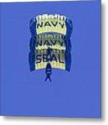 Navy Seal Leap Frogs 3 Vertical Parachutes Metal Print