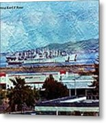 Navy Ships As A Painting Metal Print