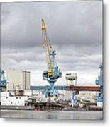 Navy Yard Cranes Metal Print