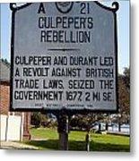 Nc-a21 Culpepers Rebellion Metal Print