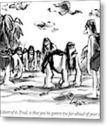 Neanderthal Speaks To An Upright Man As A Group Metal Print