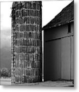 Near Infrared Old Michigan Barn With Silos Bw Usa Metal Print