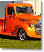 Neat Vintage Chevrolet Truck In Bright Orange Metal Print