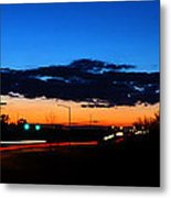Nebraska Highway Sunset Metal Print