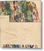Nebraska Map Vintage Watercolor Metal Print
