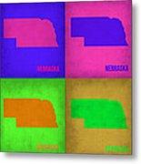 Nebraska Pop Art Map 1 Metal Print