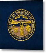 Nebraska State Flag Art On Worn Canvas Metal Print