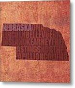 Nebraska Word Art State Map On Canvas Metal Print by Design Turnpike