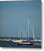 Ned's Point Lighthouse With Sailboats Metal Print