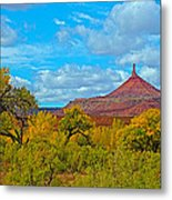 Needle-topped Butte From Highway 211 Going Into Needles District Of Canyonlands National Park-utah  Metal Print