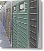 Negative Beach Huts Metal Print