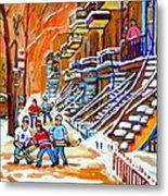 Neighborhood Street Hockey Game Last Call Time For Dinner  Montreal Winter Scene Art Carole Spandau Metal Print