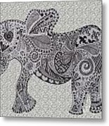 Nelly The Elephant Grey Metal Print