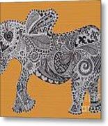 Nelly The Elephant Orange Metal Print