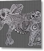 Nelly The Elephant Stripes Metal Print