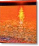 Neon Beach Sunset Metal Print