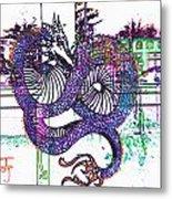 Neon Dragon In High Contrast Metal Print
