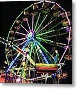 Neon Ferris Wheel Metal Print