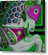 Neon Green Carousel Horse Metal Print
