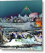 Neon Lights Of Spokane Falls Metal Print by Carol Groenen