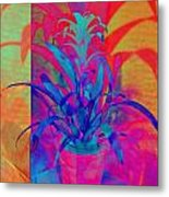 Neon Pineapple Plant - Vertical Metal Print