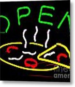 Neon Pizza Metal Print