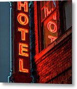 Neon Sign For Hotel In Texas Metal Print