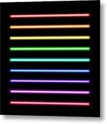 Neon Tube Light Pack Isolated On Black Metal Print