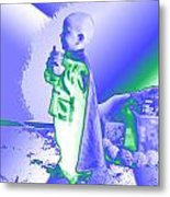 Neon Water Dragon Ninja Boy Metal Print